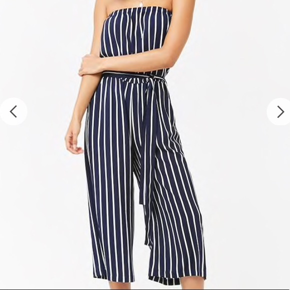 d4163301bc0 NWT Navy Blue Striped Jumpsuit size Large